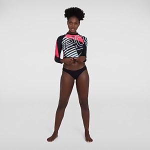 Women's Placement Long Sleeve Wrap Back Top Black