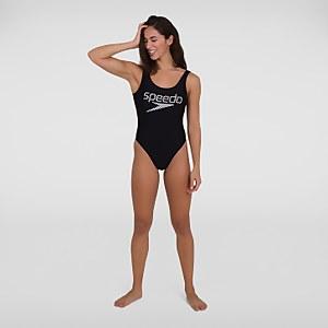 Women's Logo Deep U-Back Swimsuit Black