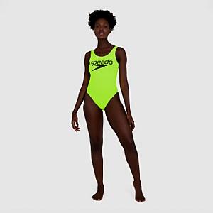 Women's Logo Deep U-Back Swimsuit Yellow