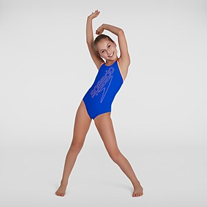 Girl's Boom Logo Placement Flyback Swimsuit Blue
