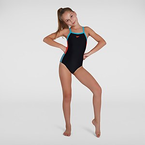 Girl's Dive Thinstrap Muscleback Swimsuit Black