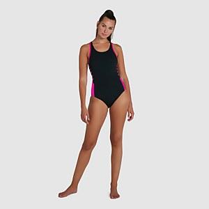 Damen Boom Logo Splice Muscleback Badeanzug in Schwarz