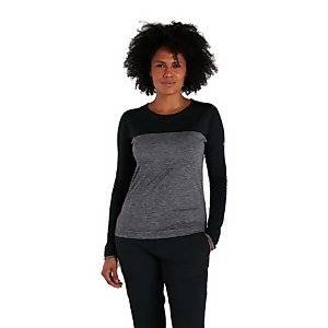 Women's Voyager Tech Tee Long Sleeve Crew - Dark Grey / Black