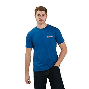 Men's Organic Front & Back Logo T-Shirt - Blue