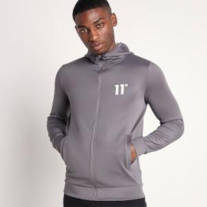 Men's Core Full Zip Poly Track Top With Hood - Steel