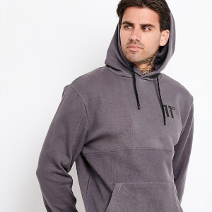 Men's Mixed Fabric Boxy Block Pullover Hoodie - Charcoal