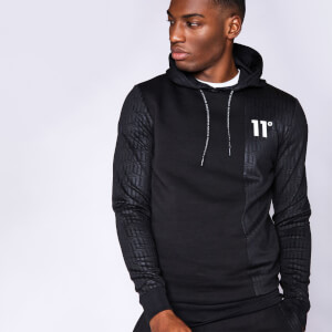 Men's Eclipse Cut And Sew Mixed Fabric Pullover Hoodie - Black