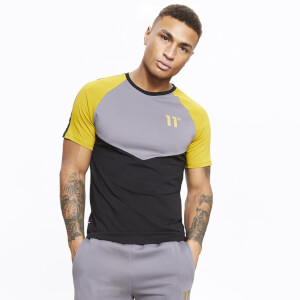 Men's Cut And Sew Chevron Muscle Fit T-Shirt Black/Charcoal/Gold