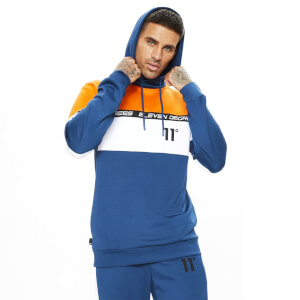 Men's Cut And Sew Colour Block Poly Track Top With Hood Blue/White/Orange