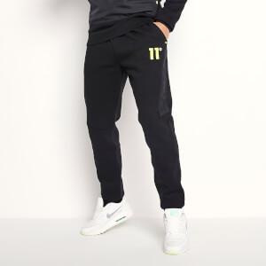 Men's Panelled Joggers Regular Fit - Black/Limeaide