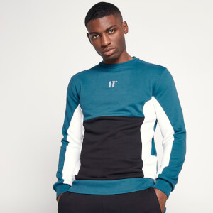 Men's Cut And Sew Sweatshirt - Black/Indian Teal/White