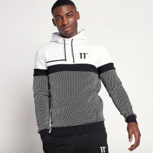 Men's Colour Block Pullover Hoodie - Black/White