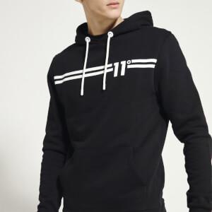 Men's Chest Stripe Pullover Hoodie - Black/White