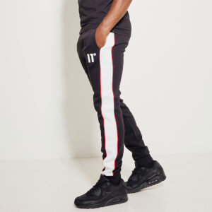 Men's Colour Block Piped Joggers Regular Fit - Black/White/Goji Berry Red