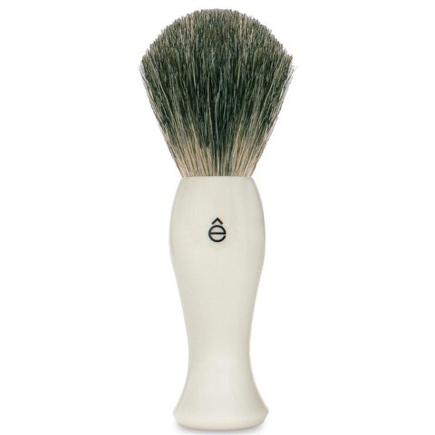 eShave Long Shave Brush Plastic Handle White