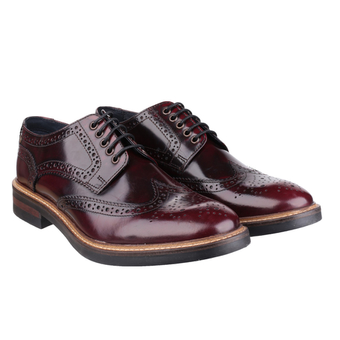 Base London Men's Woburn Brogue Shoes - Red