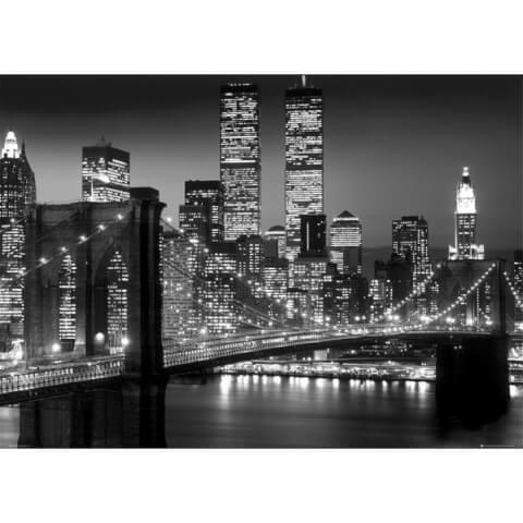 New York Brooklyn Bridge Night - Giant Poster - 100 x 140cm