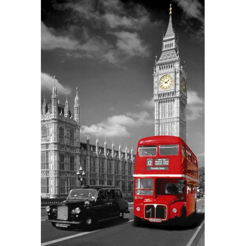 London Big Ben Bus and Taxi - Maxi Poster - 61 x 91.5cm