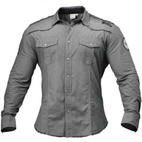 Better Bodies Men's Flex Shirt - Grey/White Stripe