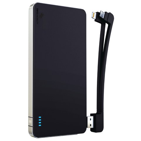 Swiss Mobility Universal Power Pack 5000 with 3-in-1 Detachable Cable (micro USB and Apple Lightening) - Rubberized Black