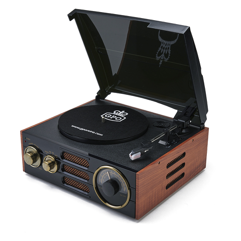 GPO Retro Empire Classic Vintage Style 3-Speed Record Player Turntable with Radio and Built-In Speaker - Black/Brown