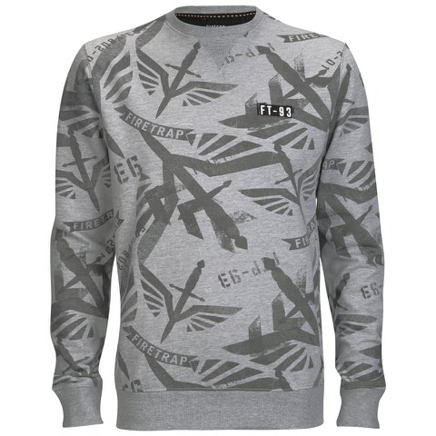 Firetrap Men's Sudrey All Over Printed Sweatshirt - Grey Marl