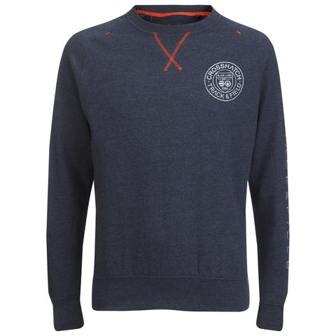 Crosshatch Men's Jaykie Crew Neck Sweatshirt - Navy Marl
