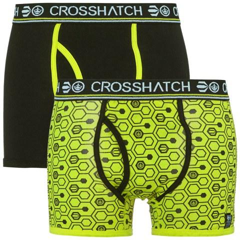 Crosshatch Men's Hexon 2 Pack Boxers - Lime Punch