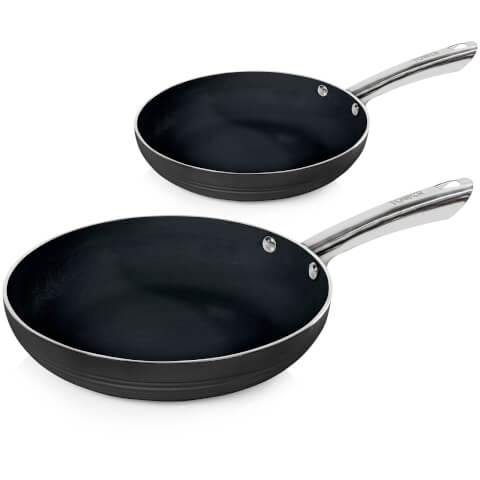 Tower T90910B LINEAR 2 Piece Ceramic Frying Pan - Silver