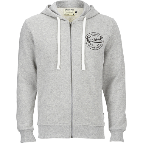 Jack & Jones Men's Originals Len Zip Through Hoody - Light Grey Marl