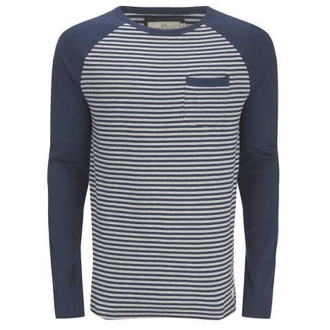 Brave Soul Men's Monacle Striped Raglan Long Sleeve Top - Navy