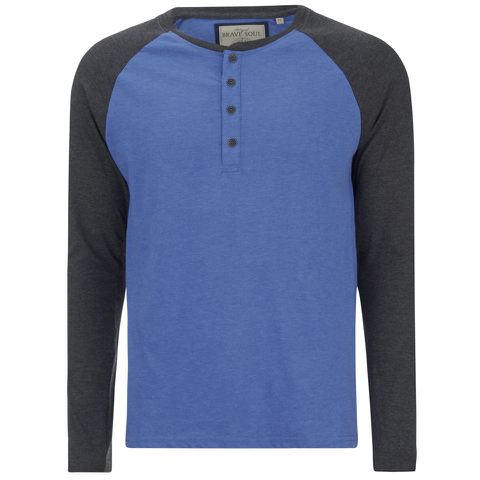 Brave Soul Men's Rasmus Grandad Long Sleeved Top - Ocean Blue/Charcoal