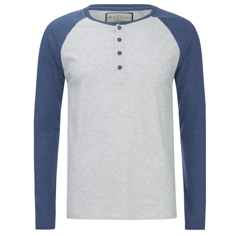 Brave Soul Men's Rasmus Grandad Long Sleeved Top - Ecru/Vintage Blue
