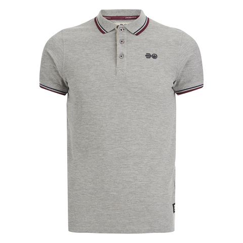 Crosshatch Men's Downtalk Tipped Polo Shirt - Grey Marl