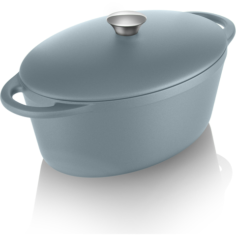 Tower IDT90003 Cast Iron Oval Casserole Dish - Blue - 29cm