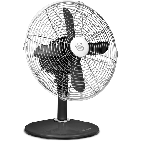 Swan SFA1010BN Retro Desk Fan - Black - 12 Inch