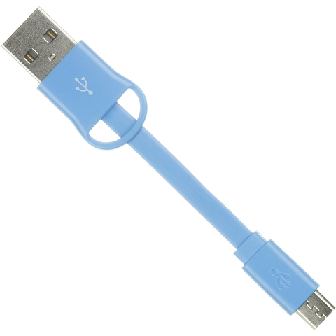 Kit USB to Micro USB Keyring Data & Charge Cable - Blue