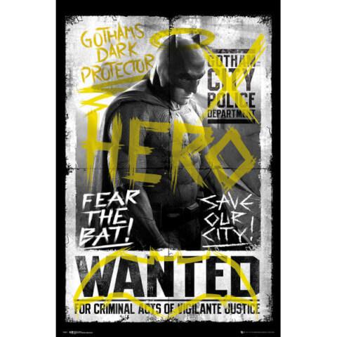 DC Comics Batman v Superman Dawn of Justice  Batman Wanted - 24 x 36 Inches Maxi Poster