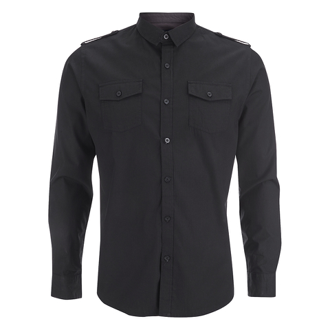 Brave Soul Men's Charlie Pocket Long Sleeve Shirt - Black