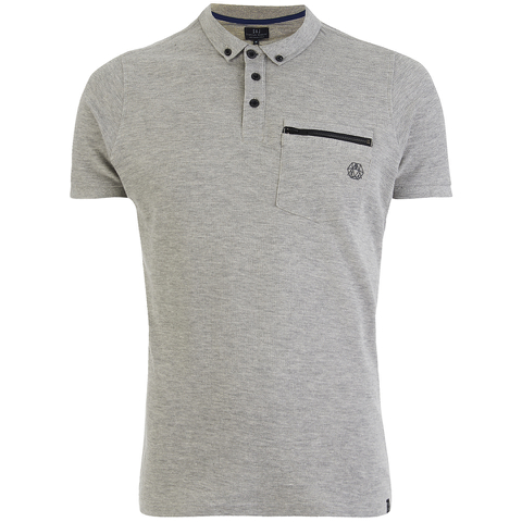 Smith & Jones Men's Mascaron Zip Pocket Polo Shirt - Mid Grey Marl