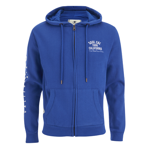 Soul Cal Men's Sleeve Print Logo Zip Through Hoody - Cobalt Blue