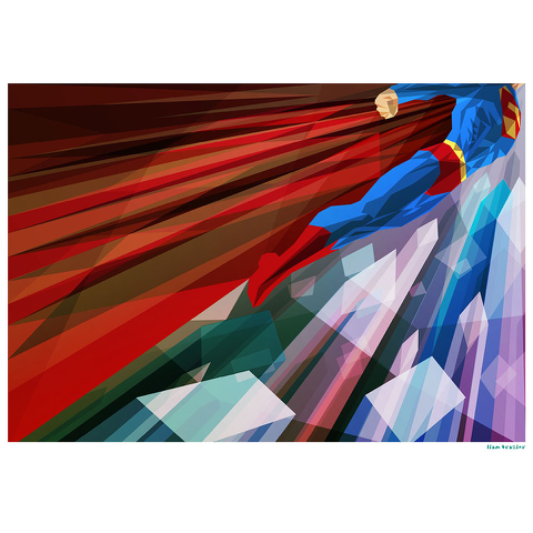 Superman Inspired Illustrative Art Print - 11.7 x 16.5 Inches