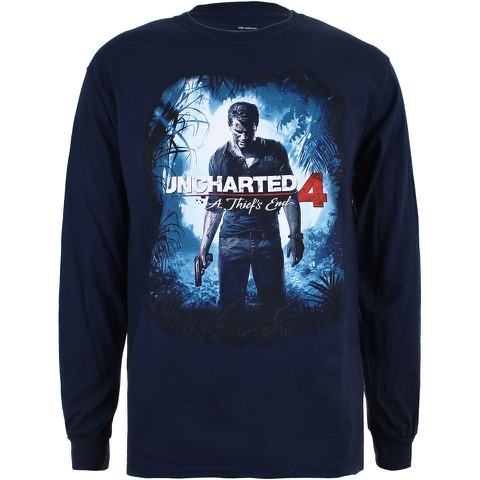 T-shirt Homme Manches Longues Uncharted 4 Cover Logo - Bleu Marine