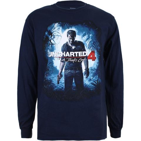 Camiseta manga larga Uncharted 4 - Hombre - Azul marino