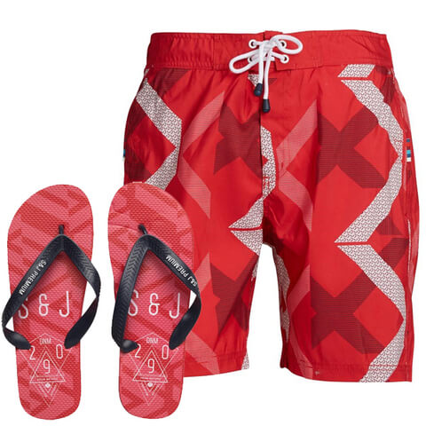 Smith & Jones Men's Diffraction Swim Shorts & Flip Flops - Beet Red