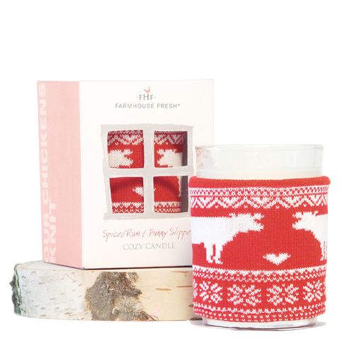 FarmHouse Fresh Cozy Sweater Candle - Spiced Rum and Bunny Slippers