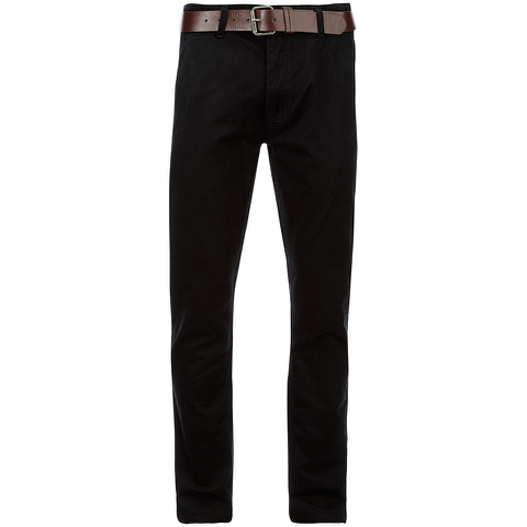 Smith & Jones Men's Ashlar Belted Slim Fit Chinos - Black Twill