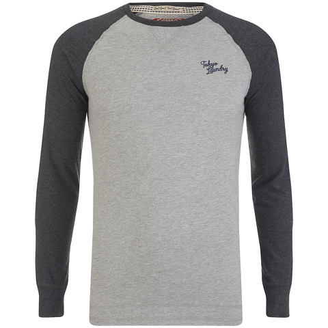 Tokyo Laundry Men's Fremont Cove Raglan Long Sleeve Top - Charcoal Marl
