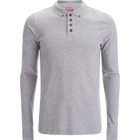 Tokyo Laundry Men's Lake Nevada Long Sleeve Polo Shirt - Light Grey Marl