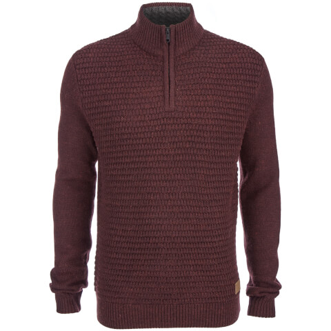 Threadbare Men's Redford Textured Quarter Zip Neck Funnel Knitted Jumper - Burgundy